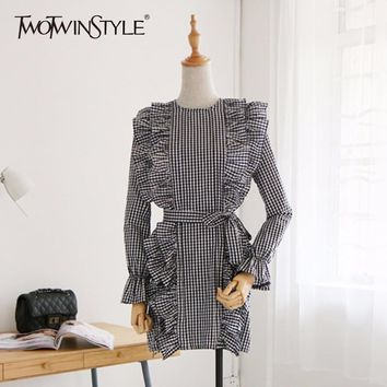 TWOTWINSTYLE Plaid Tunic Dress For Women Ruffles Lace Up High Waist Flare Sleeve A Line Mini Dresses Female Spring Sweet Clothes