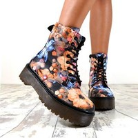 ICE Flat Grip Martin Style Lace Up Front Ankle Boots In Floral – NaomiShu