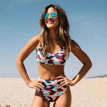 """Cali love"" 2 piece high waist tankini swimsuit set"