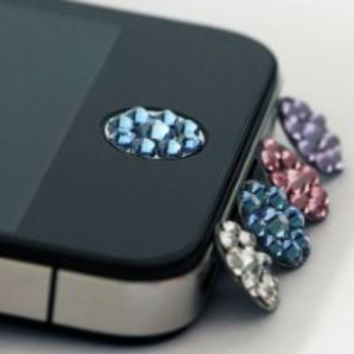 My Associates Store - one piece blue Bling Rhinestone iPhone Home Button Sticker in clear plastic bag