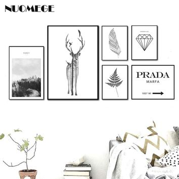 Nordic Style Landscape Poster Print Minimalist Wall Art Canvas Painting Deer Feather PRADA Picture for Living Room Home Decor