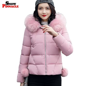 SNOW PINNACLE 2017 Winter Cotton Coat Women Casual Big Fur collar Warm Thicken Cotton Padded Parkas Hooded Jacket M-XXL