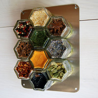 Custom WALL Magnetic Spice Rack. Set of 10 EMPTY jars to customize to your pantry--personalized with hand-stamped lids. Hexagon glass jars.