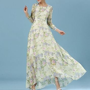 Chiffon Silk long sleeve printed maxi dress