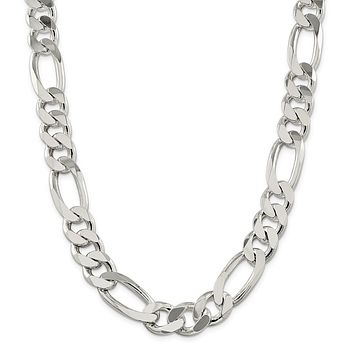 925 Sterling Silver 15 to 15.1mm Figaro Chain Necklace, Bracelet or Anklet