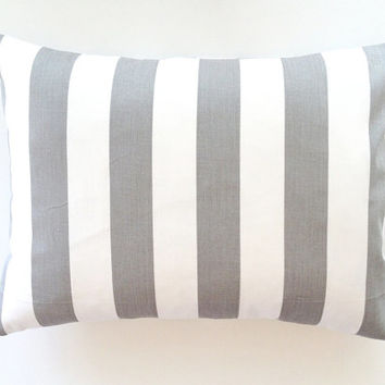 15% OFF SALE Striped Lumbar Pillow Cover. 12x16 Inch Gray White Stripes Decorative Couch Pillow Cover