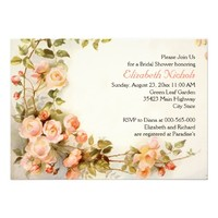 Vintage romantic roses wedding bridal shower announcements