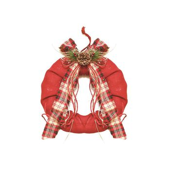"13"" Decorative Red Burlap Christmas Wreath with Plaid Bow and Pine Accents - Unlit"