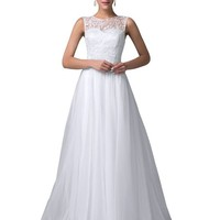 White Lace Tulle Prom Ball Gowns Evening Dresses (16)