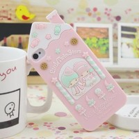 HJX iphone 5 New Lovely Cartoon Little Twin Stars In House Silicone Soft Case Protector Cover For Apple iPhone 5 5G 5th
