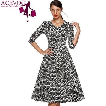 ACEVOG Brand Dress Autumn Winter 2016 3/4 Sleeve Women Fashion Elegant Vintage Rockabilly Floral Swing Party Dresses 1950s Style
