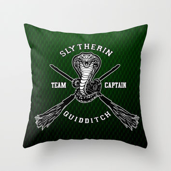 Harry potter Slytherin quidditch team Throw Pillow case by Three Second