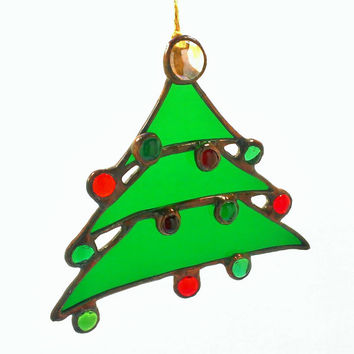 Stained Glass Christmas Tree Ornament Abstract Beaded Christmas Tree, Free Shipping