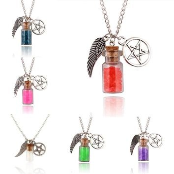 1Pc Supernatural Protection Necklace Angel Wing Pentagram With Salt Bottle Pendant Chain Necklaces Women Charm Jewelry Gifts