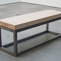 Sleek and minimal welded steel base and reclaimed 2.5 inch thick maple top table, bench, art object.