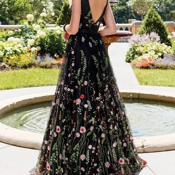 New Black Floral Condole Belt Backless Draped Print V-neck Sleeveless Elegant Maxi Dress