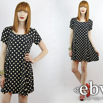 Vintage 90s BETSEY JOHNSON Polka Dot Babydoll Dress S M Polka Dot Mini Dress Polka Dot Dress Black Dress Summer Dress Betsey Johnson Dress