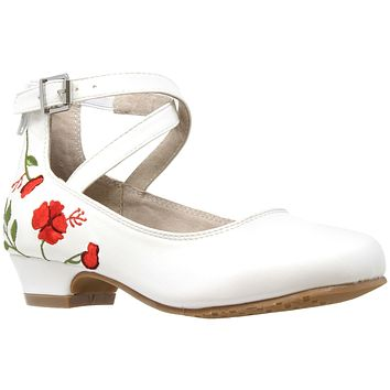 Kids Dress Shoes Embroidered Flower Mary Jane Block Heel Pumps White