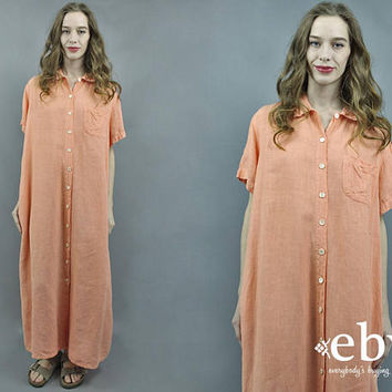 Linen Maxi Dress Peach Dress Orange Dress 90s Maxi Dress Minimal Dress Minimalist Dress 90s Dress 1990s Linen Dress S M L