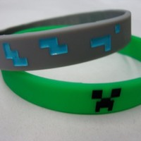 Set of 2 Official Licensed Minecraft Diamond and Creeper Rubber Bracelets