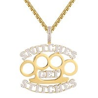 Icy Snitches get Stitches Knuckle Hip Hop Rapper Pendant Chain