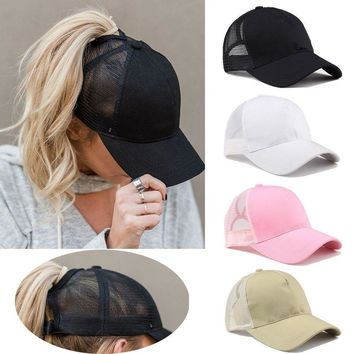 Tennis Cap Women Sport Hat Summer Messy Bun Mesh Hats Adjustable Sport Running Cycling Caps for ping
