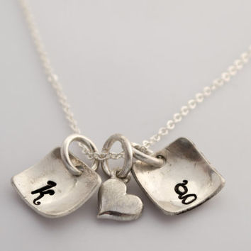 Hand Stamped Charm Jewelry Sterling Silver Initial Necklace with heart charm