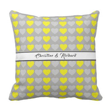 Romantic Hearts and Names Throw Pillow