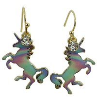Skelapparel Mystic Unicorn Iridescent Rainbow Unicorn Earrings