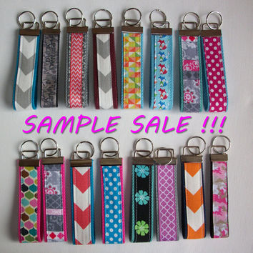 SAMPLE SALE -  Key FOB / KeyChain / Wristlet  - chevron, quatrefoil, flowers, polka dots