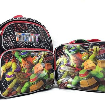 "Teenage Mutant Ninja Turtles 12"" Canvas School Backpack With Insulated Lunch Bag"