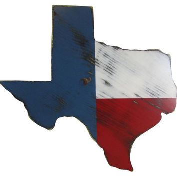 Texas State in Red, White and Blue Flag Colors Custom  Wood Sign Decor Rustic Americana Country Chic Texas State Pride Wall Art Rustic Decor