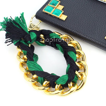 Emerald green black and gold chunky chain chain braid wristlet wrist strap lanyard for your keys clutch wallet or trokm phone case