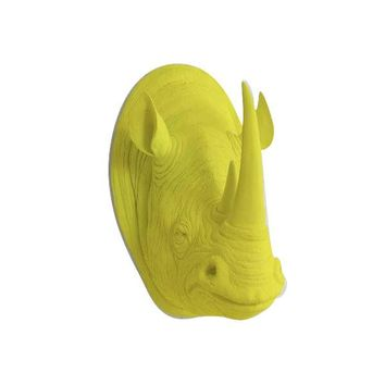 The Large Serengeti Yellow Faux Taxidermy Resin Rhino Head Wall Mount | Yellow Rhinoceros w/ Colored Horns