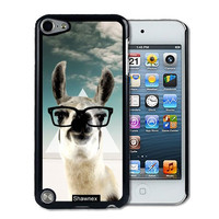 IPod 5 Touch Case Thinshell Case Protective IPod 5G Touch Case Shawnex Hipster Llama Geek Glass