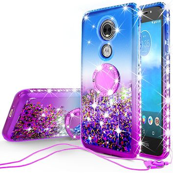 Glitter Phone Case Kickstand Compatible for Motorola Moto E5 Play, Moto E5 Cruise Case,Ring Stand Liquid Floating Quicksand Bling Sparkle Protective Girls Women for Moto E5 Play/E5 Cruise - (Blue Gradient)
