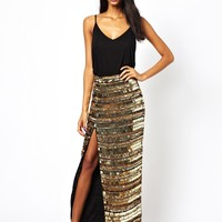 Virgos Lounge Metallica Mirrored Maxi Skirt with Thigh Split