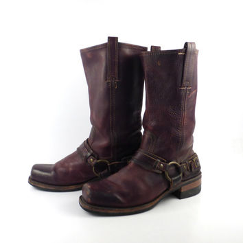 Frye Harness Boots Vintage 1980s Brown Leather Men's size 9 M