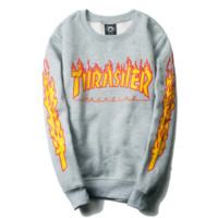 """thrasher""letters print flame GRAY man and women long sleeve swater"