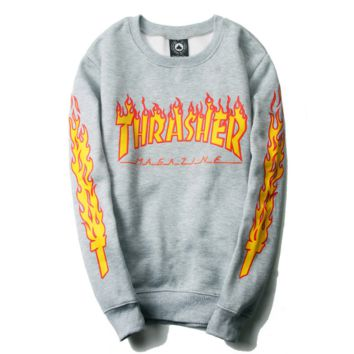 """""""thrasher""""letters print flame GRAY man and women long sleeve swater"""