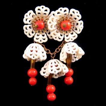 Unsigned Miriam Haskell Plastic Flower and Bead Dangle Pin