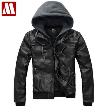 Removable hoodies New outwear slim fit leather jackets autumn winter Fashion transverse Men's leather coats