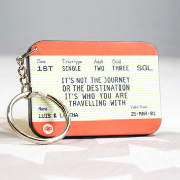 Personalised Train Ticket Keyring