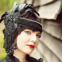 Black Feather Headdress Flapper Style Beaded Swarovski Crystals - Dark Queen