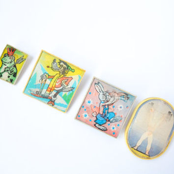 Set of Cute Lenticular Vintage Pins / Rare Holographic Brooches for Children: 3D Princess and Frog, Wolf, Hare, Weightlifter Pinback Buttons