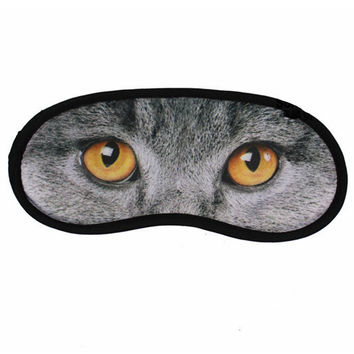 Animal Cat-Image Printed Cartoon Eye Sleep Masks Travel Aid Comfortable Sleeping Blindfold Rest Eyeshade Random Style
