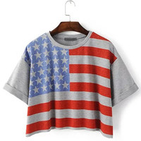 Multicolor Flag Printed Roll Up Cuff T-shirt