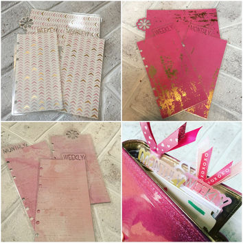 Planner bookmark dividers - personal size, Pinks