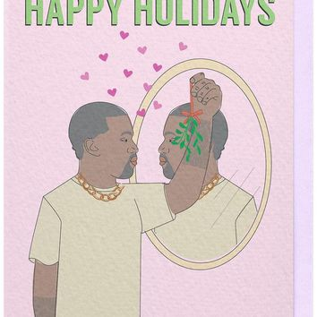 Happy Holidays Kanye West Mistletoe Card