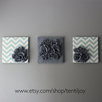 Three Wall Art Canvases Blue and Gray Chevron 12x12 by tentiljoy